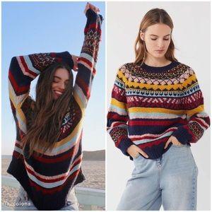 NWT UO Fair Isle Vintage/Retro Tone Stripe Sweater